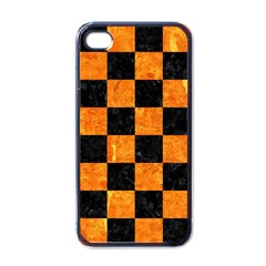 Square1 Black Marble & Orange Marble Apple Iphone 4 Case (black) by trendistuff