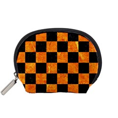 Square1 Black Marble & Orange Marble Accessory Pouch (small)