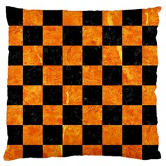 Square1 Black Marble & Orange Marble Large Flano Cushion Case (one Side) by trendistuff