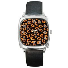 Skin5 Black Marble & Orange Marble (r) Square Metal Watch by trendistuff
