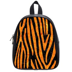 Skin4 Black Marble & Orange Marble (r) School Bag (small) by trendistuff