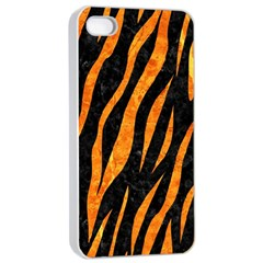 Skin3 Black Marble & Orange Marble Apple Iphone 4/4s Seamless Case (white) by trendistuff