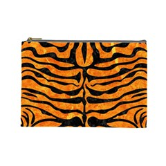 Skin2 Black Marble & Orange Marble (r) Cosmetic Bag (large) by trendistuff