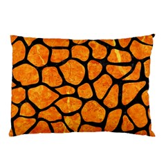 Skin1 Black Marble & Orange Marble Pillow Case by trendistuff