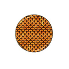 Scales3 Black Marble & Orange Marble (r) Hat Clip Ball Marker by trendistuff