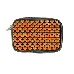 Scales3 Black Marble & Orange Marble (r) Coin Purse by trendistuff