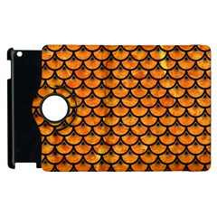 Scales3 Black Marble & Orange Marble (r) Apple Ipad 2 Flip 360 Case by trendistuff