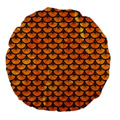 Scales3 Black Marble & Orange Marble (r) Large 18  Premium Flano Round Cushion  by trendistuff