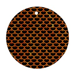 Scales3 Black Marble & Orange Marble Round Ornament (two Sides) by trendistuff