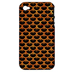 Scales3 Black Marble & Orange Marble Apple Iphone 4/4s Hardshell Case (pc+silicone) by trendistuff