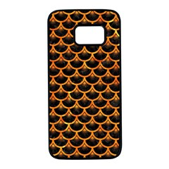 Scales3 Black Marble & Orange Marble Samsung Galaxy S7 Black Seamless Case