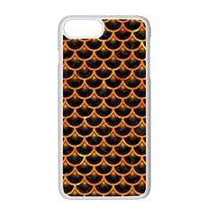 Scales3 Black Marble & Orange Marble Apple Iphone 7 Plus White Seamless Case