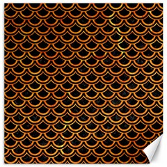 Scales2 Black Marble & Orange Marble Canvas 16  X 16  by trendistuff
