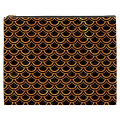 Scales2 Black Marble & Orange Marble Cosmetic Bag (xxxl) by trendistuff