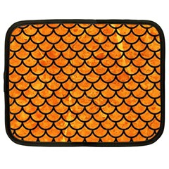 Scales1 Black Marble & Orange Marble (r) Netbook Case (xl) by trendistuff