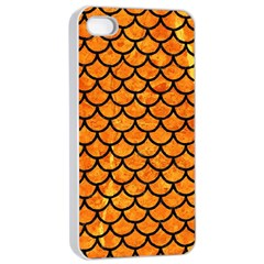 Scales1 Black Marble & Orange Marble (r) Apple Iphone 4/4s Seamless Case (white) by trendistuff