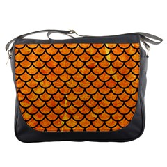 Scales1 Black Marble & Orange Marble (r) Messenger Bag by trendistuff