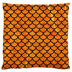 Scales1 Black Marble & Orange Marble (r) Large Cushion Case (one Side) by trendistuff