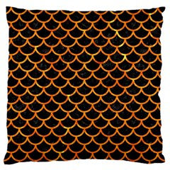 Scales1 Black Marble & Orange Marble Standard Flano Cushion Case (one Side) by trendistuff