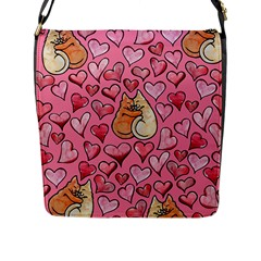 Cat Love Valentine Flap Messenger Bag (l)  by BubbSnugg