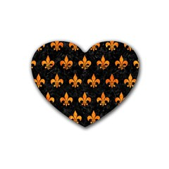 Royal1 Black Marble & Orange Marble (r) Rubber Coaster (heart) by trendistuff