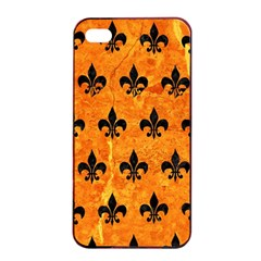 Royal1 Black Marble & Orange Marble Apple Iphone 4/4s Seamless Case (black) by trendistuff