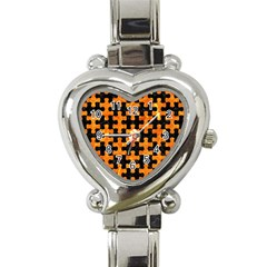 Puzzle1 Black Marble & Orange Marble Heart Italian Charm Watch by trendistuff