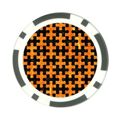 Puzzle1 Black Marble & Orange Marble Poker Chip Card Guard by trendistuff