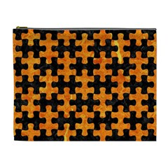 Puzzle1 Black Marble & Orange Marble Cosmetic Bag (xl) by trendistuff