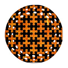 Puzzle1 Black Marble & Orange Marble Ornament (round Filigree) by trendistuff