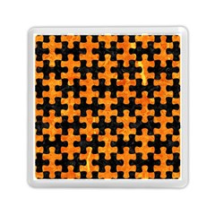 Puzzle1 Black Marble & Orange Marble Memory Card Reader (square) by trendistuff