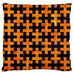 Puzzle1 Black Marble & Orange Marble Large Cushion Case (two Sides) by trendistuff