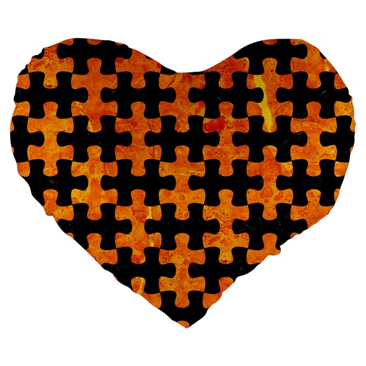 PUZZLE1 BLACK MARBLE & ORANGE MARBLE Large 19  Premium Flano Heart Shape Cushion