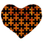 PUZZLE1 BLACK MARBLE & ORANGE MARBLE Large 19  Premium Flano Heart Shape Cushion Back