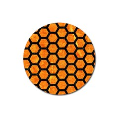 Hexagon2 Black Marble & Orange Marble (r) Magnet 3  (round) by trendistuff