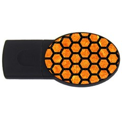 Hexagon2 Black Marble & Orange Marble (r) Usb Flash Drive Oval (4 Gb) by trendistuff