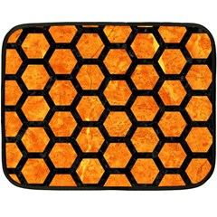 Hexagon2 Black Marble & Orange Marble (r) Fleece Blanket (mini) by trendistuff