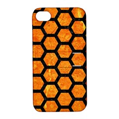 Hexagon2 Black Marble & Orange Marble (r) Apple Iphone 4/4s Hardshell Case With Stand by trendistuff