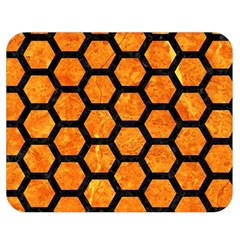 Hexagon2 Black Marble & Orange Marble (r) Double Sided Flano Blanket (medium) by trendistuff
