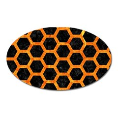 Hexagon2 Black Marble & Orange Marble Magnet (oval) by trendistuff