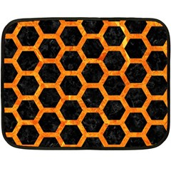 Hexagon2 Black Marble & Orange Marble Double Sided Fleece Blanket (mini) by trendistuff