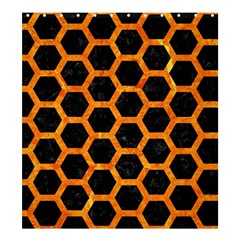 Hexagon2 Black Marble & Orange Marble Shower Curtain 66  X 72  (large) by trendistuff