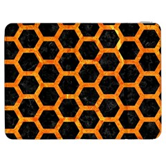 Hexagon2 Black Marble & Orange Marble Samsung Galaxy Tab 7  P1000 Flip Case by trendistuff