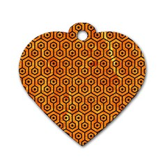 Hexagon1 Black Marble & Orange Marble (r) Dog Tag Heart (two Sides) by trendistuff