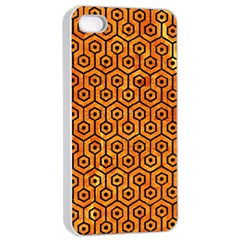 Hexagon1 Black Marble & Orange Marble (r) Apple Iphone 4/4s Seamless Case (white) by trendistuff