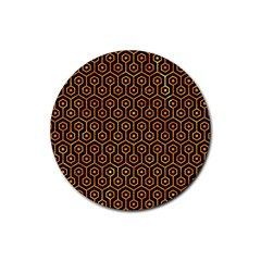Hexagon1 Black Marble & Orange Marble Rubber Coaster (round) by trendistuff