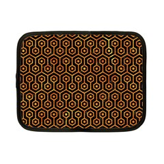 Hexagon1 Black Marble & Orange Marble Netbook Case (small) by trendistuff