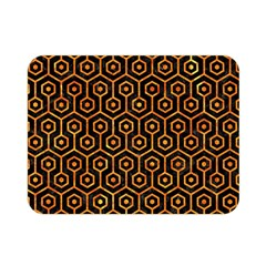 Hexagon1 Black Marble & Orange Marble Double Sided Flano Blanket (mini) by trendistuff