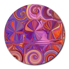 Candy Abstract Pink, Purple, Orange Round Mousepads by digitaldivadesigns