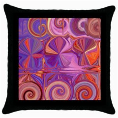 Candy Abstract Pink, Purple, Orange Throw Pillow Case (black)